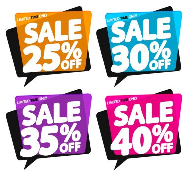 Set Sale speech bubble banners design template, discount tags, app icons, vector illustration