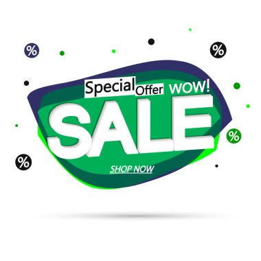 Sale bubble banner design template, discount tag, special offer, vector illustration