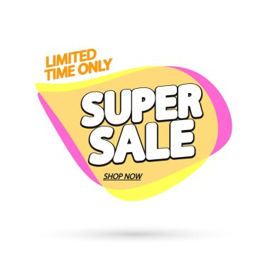 Super Sale tag, bubble banner design template, app icon, vector illustration