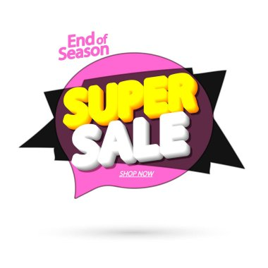 Super Sale tag, bubble banner design template, app icon, vector illustration