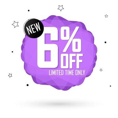 Sale 6% off, bubble banner design template, discount tag, vector illustration