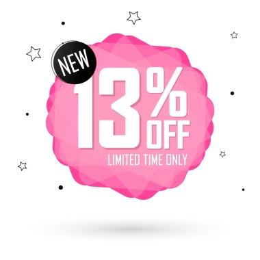Sale 13% off, bubble banner design template, discount tag, vector illustration