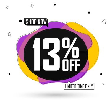 Sale 13% off, bubble banner design template, discount tag, vector illustration