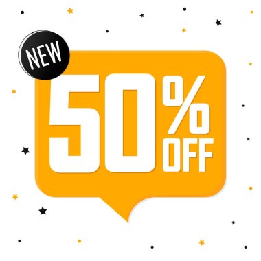 Sale 50% off, speech bubble banner, discount tag design template, vector illustration