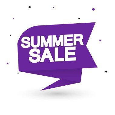 Summer Sale, tag design template, discount speech bubble banner, app icon, vector illustration