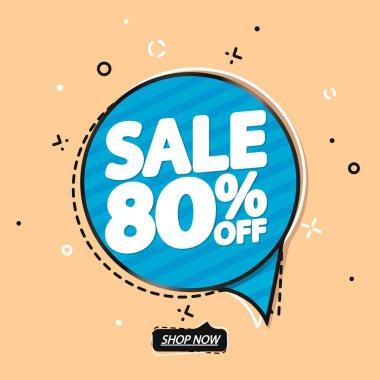 Sale 80% off, speech bubble banner, discount tag design template, vector illustration