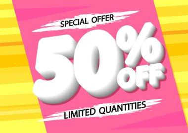 Sale 50% off, poster design template, discount banner, special offer, vector illustration
