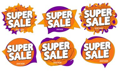 Set Super Sale bubble banners design template, discount tags, app icons, vector illustration