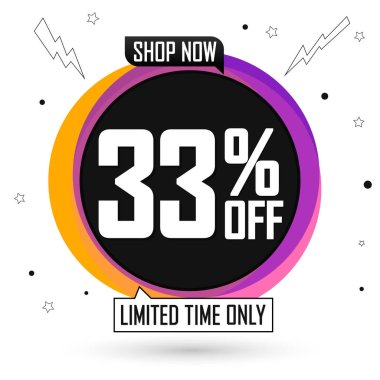 Sale 33% off, bubble banner design template, discount tag, special offer, vector illustration