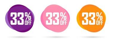 Set Sale 33% off bubble banners, discount tags design template, vector illustration