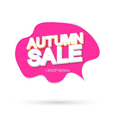 Autumn Sale, tag design template, Fall discount speech bubble banner, app icon, vector illustration