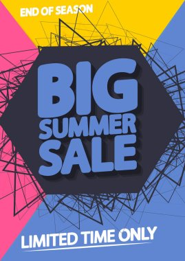 Summer Sale, discount poster design template, special offer, spend up and save more, vector illustration