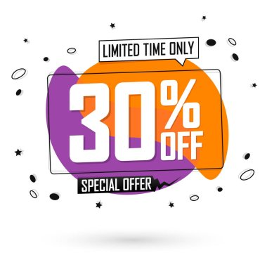 Sale 30% off, bubble banner design template, discount tag, special offer, lowest deal,  spend up and save more, vector illustration