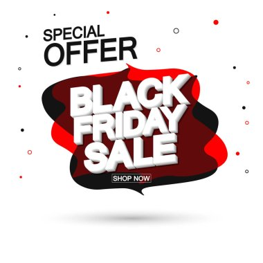 Black Friday Sale, special offer, bubble banner design template, discount tag, app icon, vector illustration