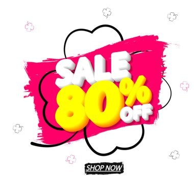 Sale 80% off, banner design template, discount tag, special offer, end of season, vector illustration