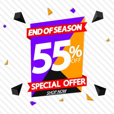 Sale 55% off, banner design template, discount tag, special offer, end of season, vector illustration
