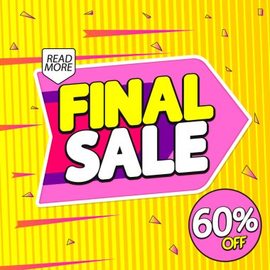 Sale 60% off, banner design template, discount tag, special offer, end of season, vector illustration