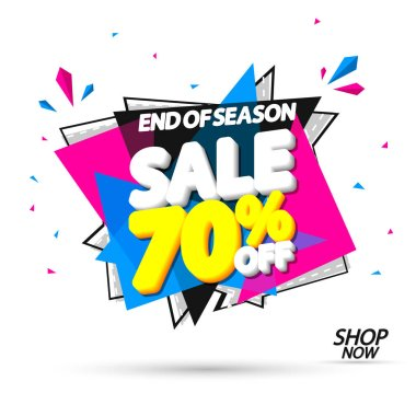 Sale 70% off, banner design template, discount tag, special offer, end of season, vector illustration