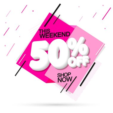 Sale 50% off, banner design template, discount tag, special offer, spend up and save more, end of season, vector illustration