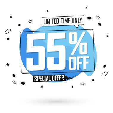 Sale 55% off, bubble banner design template, discount tag, limited time only, special  offer, app icon, vector illustration