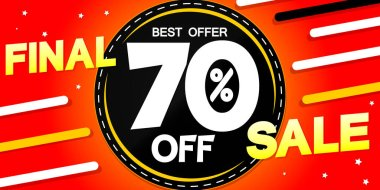 Final Sale poster design template, special offer, 70% off, vector illustration