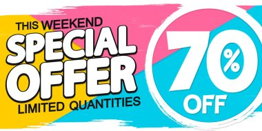 Special offer, sale poster design template, 70% off, vector illustration