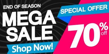 Mega Sale poster design template, special offer, 70% off, vector illustration
