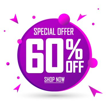 Sale 60% off, banner design template, discount tag, spend up and save more, special offer, big deal, lowest price, promotion poster, vector illustration