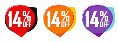 Set Sale 14% off bubble banners, discount tags design template, today offers, vector illustration