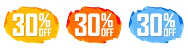 Set Sale 30% off bubble banners, discount tags design template, today offers, vector illustration
