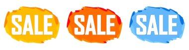 Set Sale bubble banners design template, discount tags, app icons, vector illustration