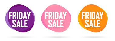 Set Friday Sale bubble banners design template, discount tags, app icons, vector illustration