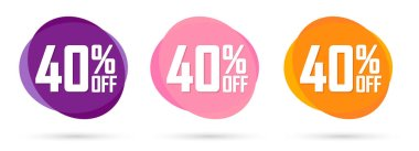 Set Sale 40% off bubble banners, discount tags design template, today offers, vector illustration