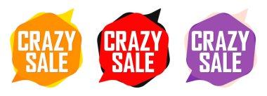 Set Crazy Sale bubble banners design template, discount tags, app icons, vector illustration