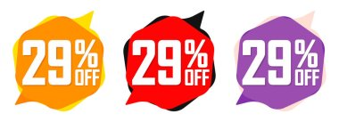 Set Sale 29% off bubble banners, discount tags design template, today offers, vector illustration
