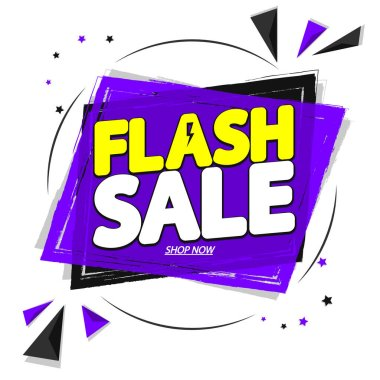 Flash Sale, banner design template, discount tag, special offer, promo tag, spend up and save more, promotion poster, vector illustration
