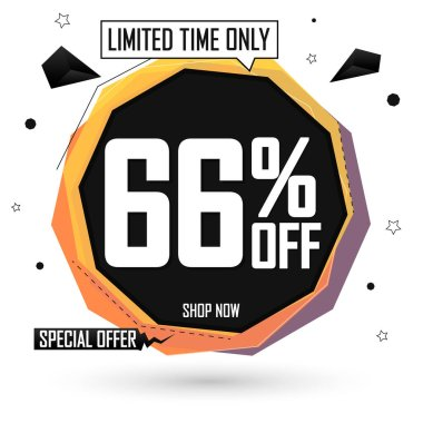 Set Sale 66% off tags, bubble banners design template, app icons, today only, vector illustration