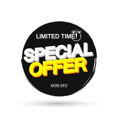 Special Offer, Sale banner design template, discount tag, grunge brush, limited time only, vector illustration