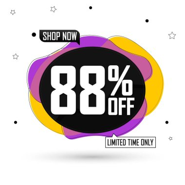 Sale 88% off, bubble banner design template, discount tag, spend up and save more, vector illustration