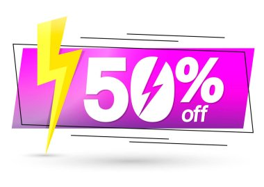 Sale 50% off, banner design template, discount tag, spend up and save more, special offer, big deal, lowest price, promotion poster, vector illustration