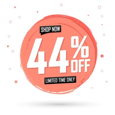 Sale 44% off, banner design template, discount tag, spend up and save more, special offer, big deal, lowest price, promotion poster, vector illustration