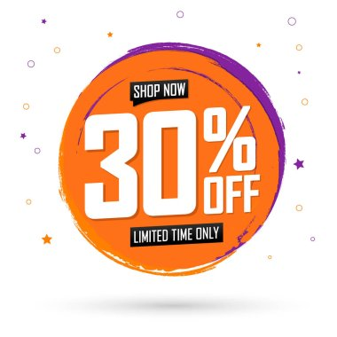 Sale 30% off, banner design template, discount tag, spend up and save more, special offer, big deal, lowest price, promotion poster, vector illustration