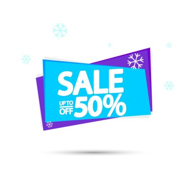 Winter Sale 50% off, banner design template, discount tag, spend up and save more, special offer, big deal, lowest price, promotion poster, vector illustration