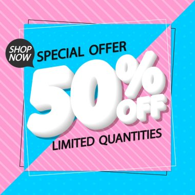 Super Sale up to 50% off, poster design template, spend up and save more, special offer, end of season, vector illustration