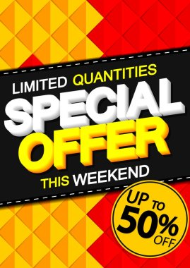 Sale up to 50% off, poster design template, spend up and save more, special offer, end of season, vector illustration