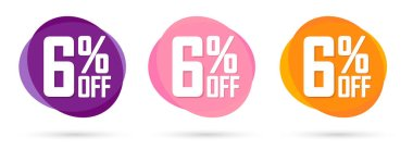 Set Sale 6% off bubble banners, discount tags design template, today offers, vector illustration