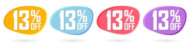 Set Sale 13% off bubble banners, discount tags design template, today offers, vector illustration