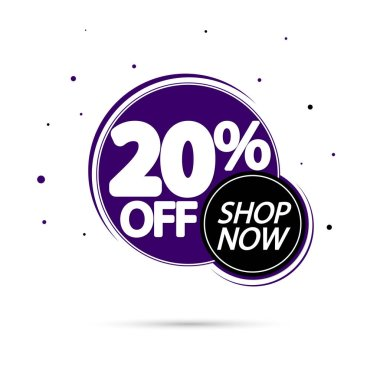 Sale 20% off, discount banner design template, promo tag, spend up and save more, vector illustration