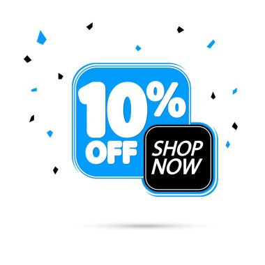 Sale 10% off, discount banner design template, promo tag, spend up and save more, vector illustration