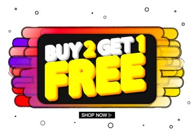 Buy 2 Get 1 Free, special offer, Sale banner design template, discount tag, end of season, promo poster, special offer vector illustration